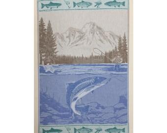 Luxurious Jacquard Woven Fishing Kitchen Dish Tea Towel 100% Cotton Trout Bear Mountains Made in Europe Brown Blue Green
