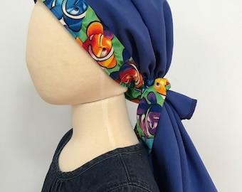 Brandy Girl's Pre-Tied Head Scarf,  Cancer Hat, Chemo Head Cover, Alopecia Headwear, Head Wrap, Cancer Gift  Hair Loss Blue Clown Fish