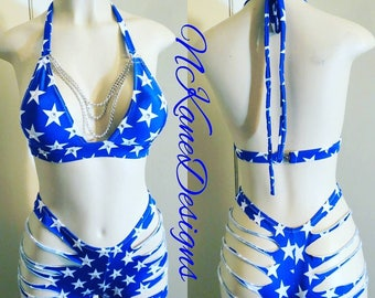 Exotic Dancewear, Stripper, Stripper Clothes, stripperwear, Stripper Outfits, Embellished Stars Shorts Set, Custom Made, Made in the USA,