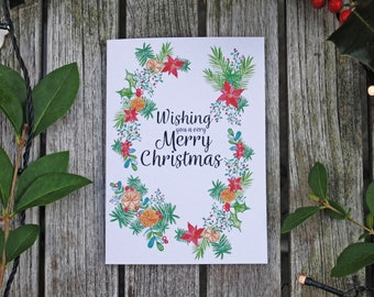 A6 Single Wishing you a Very Merry Christmas Greeting Card