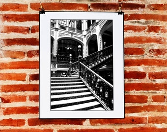 Mexico City, Black and White Architecture Photography, Mexican Wall Art, Printable Instant Download Wall Print, Black and White Wall Decor