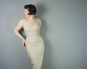 50s wiggle dress with EMBELLISHED and LACE trimmed bodice and low cut back - curve hugging HOURGLASS Mid Century gown - S