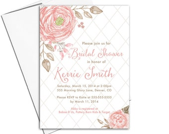 floral bridal shower invitation printed or printable | DIY wedding shower invite | coral and taupe | unique bridal shower invite - WLP00668