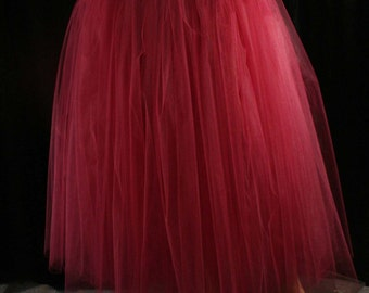 Wine Adult tutu tulle skirt floor length petticoat dance formal wedding bridal prom gypsy bridesmaid - You Choose Size - Sisters of the Moon