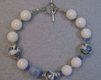 Vintage Chinese Porcelain Bead Bracelet Blue White ,Vintage White Chalcedony Beads,Vintage German Blue Givre Glass Beads,Silver Toggle Clasp