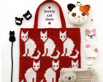 Crochet Lovely Cat Items - Japanese Craft Book