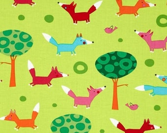 Foxes fabric, patchwork fabric, green Kaufman fabric