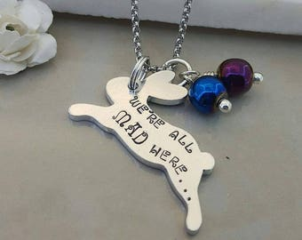 We're All Mad Here Necklace, Rabbit Keyring, Leaping Bunny Jewellery, Alice in wonderland, Jumping Hare Keychain, Through the looking glass
