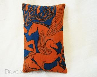 Pegasus Small Tissue Holder - dark blue and orange mythological creatures pocket facial tissue cover, winged horses flying, Greek mythology