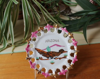 Vntg Arizona Souvenir Decor Plate Roadrunner