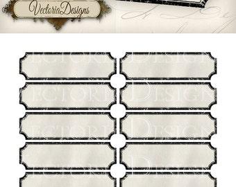 Retro Blank Labels printable add text paper crafting organizing digital download digital sheet instant download sheet - VD0731