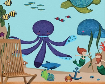 Ocean Wall Stickers Decals for Under the Sea Nursery and Kids Room - JUMBO SET