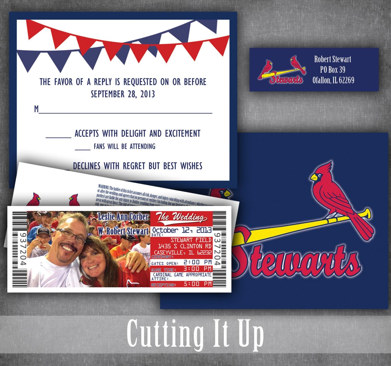 Baseball Wedding Invitation Set Sports Ticket Invitations