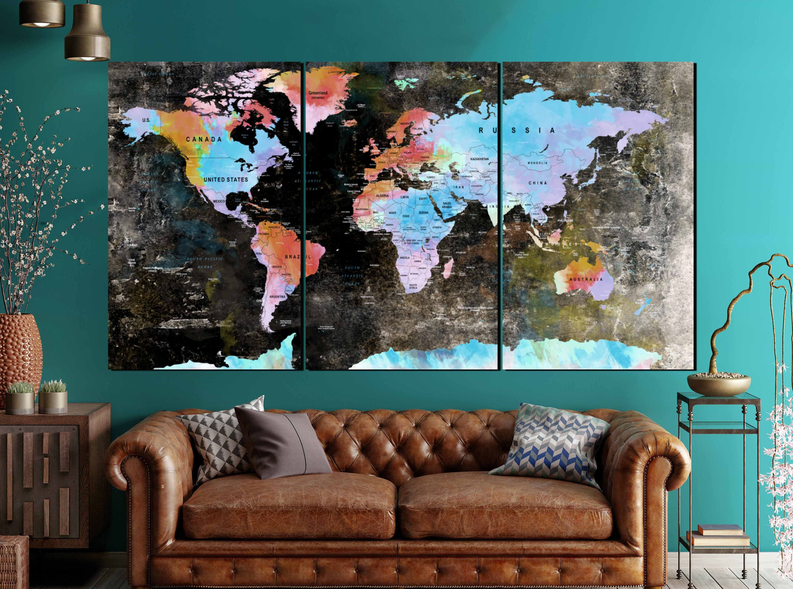 Large world map vintage canvas panelsworld mapworld map wall art large world map vintage canvas panelsworld mapworld map wall artworld map canvasworld map printworld map abstract watercolor artdecor gumiabroncs Images