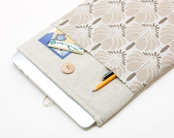 "30% OFF SALE White Linen MacBook 12 Case. Case with flowers pocket for MacBook 12 Retina. Sleeve for MacBook 12"" inch"