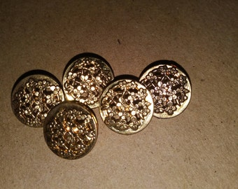Gold Flower Patch Buttons, Gold Plastic Buttons, Vintage Gold Buttons.Garden buttons. Golden flower buttons. A bunch of flowers buttons