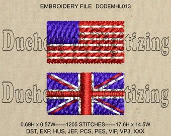 Tiny US Flag Embroidery Design, Tiny Union Jack Embroidery Design, Tiny US Flag Embroidery File, Tiny Union Jack Embroidery File, DODEMHL013