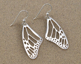 Monarch Wing Earrings - Sterling Silver - Lost Wax Cast