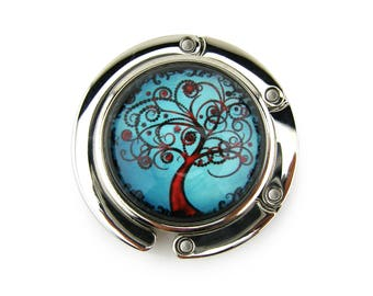 Purse Hanger, Purse Hook, Purse Holder, Folding, Photo, Magnetic, Glass, Blue Tree of Life, Blue and Red, Curly Tree