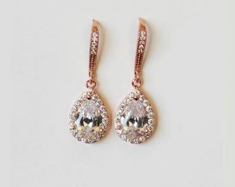 Bridesmaids earrings, Rose gold tear drop CZ earrings, Cubic Zirconia dangle earrings, Bridesmaids gifts, Gold Bridal earrings, Hook earring