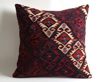 Kilim rug pillow 20x20 inch kilim pillow cover ethnic pillow, pillows kilim cushion moroccan pillow floor pillow wool kilim rug