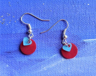 Small earrings made of shrink plastic / crazy