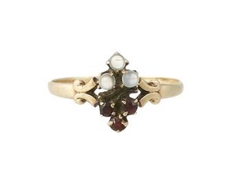 Victorian 14K Gold Garnet & Moonstone Ring