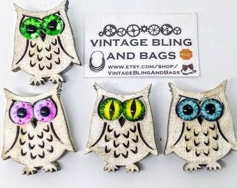 MEDIUM handmade owl pin with glass eyes, handmade owl brooch, glass eye owl pin, wooden owl brooc, owl badge, bird pin, handmade bird brooch