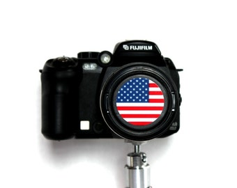 U.S flag camera lens cap for Canon, Nikon, Fuji, Sony etc. DSLR, Photography gift, photographers gift. Free shipping in North America.