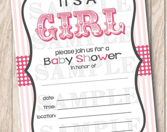 Instant Download It's a Girl Circus Baby Shower Invitations Pink & Grey, Printable Baby Shower Invititation, It's a Girl Printable