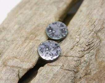 Metalic gray Minimalist earrings/ Silver stud earrings/ Geometric earrings /Hypoallergenic studs/ Ceramic earrings/ Great gift for her