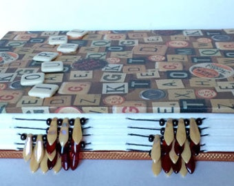 Scrabble Squares Beaded Spine Hand Stitched Watercolor Journal