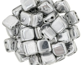 30 6 mm SILVER CzechMates Tile beads