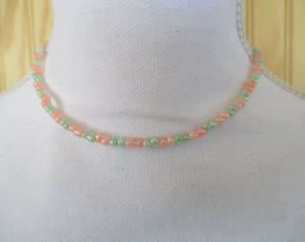 CHOKER NECKLACE/  BEADED Choker/  Dainty Choker/  Seed Bead Choker/  Dainty Necklace/  Beaded Necklace/ Gift For Her/ Coral and Green Choker