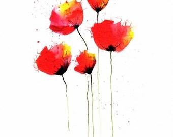 Poppies Print, Watercolour, Wall Art