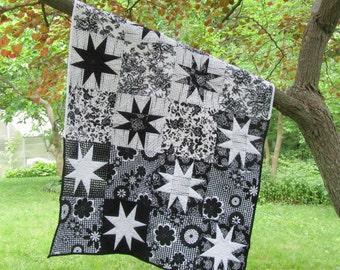 Black and White Baby Quilt, stars, baby girl, modern baby quilt, nursery decor
