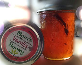 Organic Vanilla Infused Raw U.S. Honey ~ Madagascar Vanilla ~ Decadent Treats ~ Mississippi Made ~From the Beekeeper ~ From the Hive to You