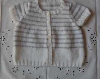 White and grey 6 months short sleeve Cardigan