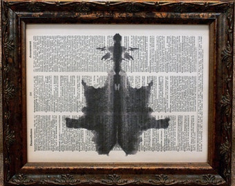 Rorschach Ink Blot 6 Art Print on Dictionary Book Page