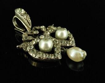 Edwardian Silver Paste Pearl Double Heart Pendant