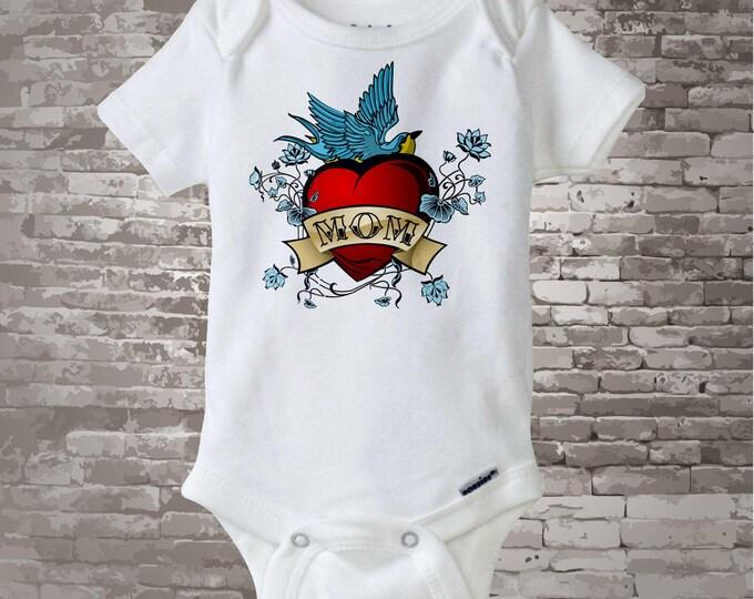 Baby Bodysuit - Boy's Valentine Mom Tattoo Heart Shirt or Onesie bodysuit for baby, Personalized 01182011a1