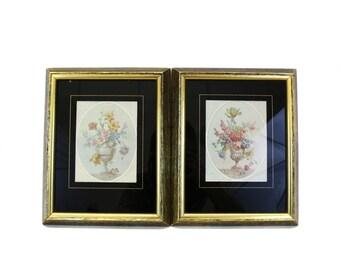 Vintage Two Framed Floral 'Boquet' Urn Prints (E363)