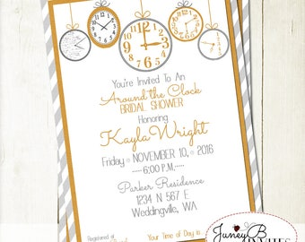 Around the Clock Bridal Shower Invitation, Bridal Shower Invite, Clock Invitation