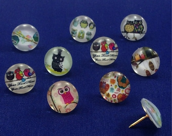 Decorative Push Pins, Owl Push Pins, Drawing Pins, Thumbtacks, Cork Board Pins, Owl Drawing Pins, Teachers Gift, Map Pins