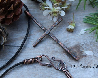 Hammered Copper Cross Necklace, Mens Cross Necklace, Christian Necklace, Religious Jewelry, Cross, Copper Jewelry, Rustic Necklace