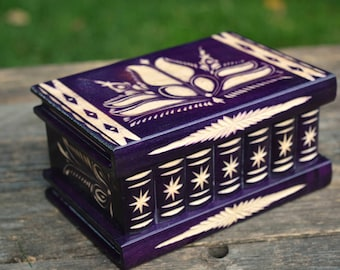 Purple box, Personalized gift for friend, BIRTHDAY GIFT for HER, Puzzle box, Wood box, Jewelry holder, Wooden secret box, Keepsake box