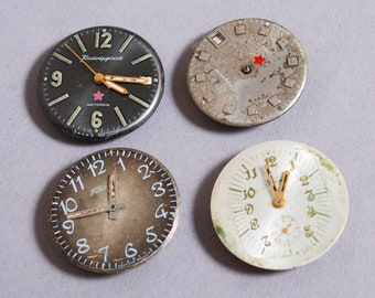 Set of 4 Vintage watch movements, watch parts, watch faces, cases (2)