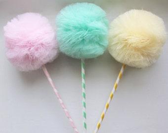 Fairy Princess , Pastel PREMIUM Tulle Pom Pom Wands, Party Favors Centerpiece, Decorations, 3 Pc Set