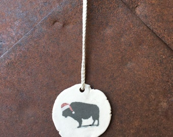 Rustic Unique Buffalo Christmas Ornaments Handmade, Bison, Artisan Christmas Ornaments, Handmade Christmas Ornaments, White Ceramic Ornament