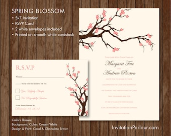 Spring Cherry Blossom Wedding Invitation Set - Printed - Customizable